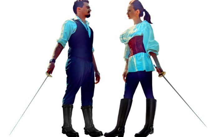 Couple Fencing with Swords